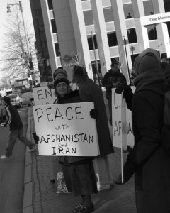 A woman protests Americans in Afghanistan
